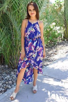Don't forget to pack the In The Tropics Blue Floral Print Halter High Low Maxi Dress for your next tropical getaway. This breezy maxi features a blue fabric floral print. Flowing maxi length skirt with ruffled high low hemline falls from the waist. Event Dresses, Holiday Dresses, Fall Dresses, Blue Dresses, Casual Dresses, Party Dresses, Dinner Dresses, Coral Dress, Women's Dresses