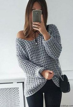 2017 NEW Autumn Winter Women Loose Soild Color V Neck Plus Size Pullover Knitted Shirt Off Shoulder Long Sleeve Sweaters Knitting Designs, Knitting Stitches, Knitting Patterns Free, Free Pattern, Casual Sweaters, Sweaters For Women, Cozy Sweaters, Crochet Clothes, Knitwear