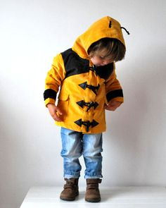 Childrens bee coat yellow black bumble bee insect jacket lined rain coat style hood duffle animal theme baby toddler   #Kids #Clothes #Cute