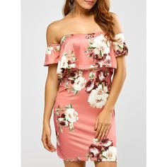 Floral Printed Off The Shoulder Fitted Dress Floral Dress Design, Red Floral Dress, Coral Dress, Dress Red, 15 Dresses, Flower Dresses, Off Shoulder Floral Dress, Floral Tops, Floral Prints