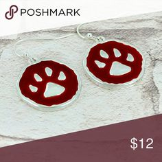 "Burgundy *Hypoallergenic* Bear Paw Earrings These beautiful burgundy bear paw earrings will add a western touch to your look!   Silvertone Enamel Fish Hook Style Earrings with 1"" Drop Hypo Allergenic Posts  Tags: camo country girl camouflage cowgirl jewelry earrings western southern bear paw charm silver Jewelry Earrings"
