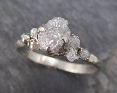 Raw Diamond Solitaire Engagement Ring Rough 14k rose by byAngeline