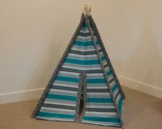 Kid's Teepee Tent No. 0257 Play Tent Ships by LilBrettAndCoTents, $129.00