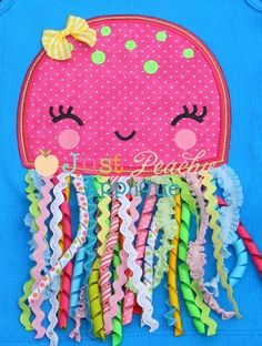 jellyfish quiet book page. great for a baby quiet book Applique Patterns, Applique Designs, Machine Embroidery Designs, Machine Applique, Embroidery Ideas, Baby Crafts, Felt Crafts, Kids Crafts, Summer Crafts