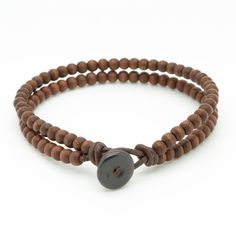◊ Mens stylish double strand beaded bracelet handmade with 4mm brown wooden beads and brown leather cord.  ◊ The bracelet features a bone bead and loop