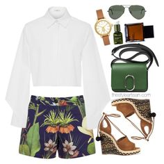 """""""Penfield Turor Botanical Shorts, Navy"""" by thestyleartisan ❤ liked on Polyvore featuring Penfield, Edun, Aquazzura, 3.1 Phillip Lim, Odin, Ray-Ban, Tory Burch, Origins and printedshorts"""