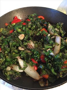 Saute Kale, red pepper, sweet onion and garlic. 9/2016