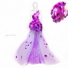 Beautiful Fashion Design Illustrations Sketched with Real Flower Petals