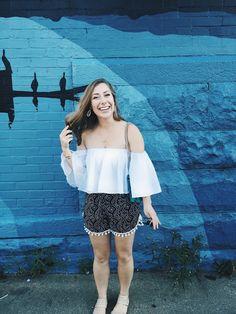 Rachel Lynn: Off the Shoulder Crop Top + Pom Shorts From Sammy Dress