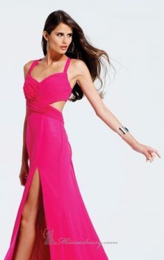 Fuchsia Sheath/Column Straps Empire Long/Floor-length Sleeveless Split Front Chiffon Lace-up Prom Dresses Dress Sexy Dresses, Faviana Dresses, Pink Formal Dresses, Ball Dresses, Ball Gowns, Amazing Dresses, Dress Formal, Formal Gowns, Beautiful Dresses