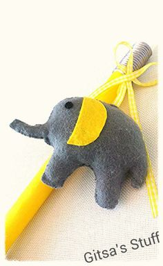 Easter Candle.. Handmade.. Yellow Grey.. Cute Elephant..