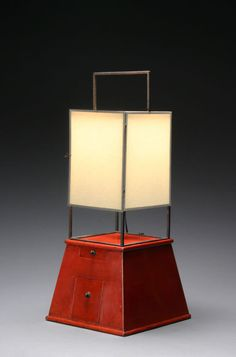 A Japanese Iron and Red Lacquer Lantern | From a unique collection of antique and modern table lamps at http://www.1stdibs.com/furniture/lighting/table-lamps/