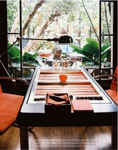 Backgammon table at Lulu Powers' home