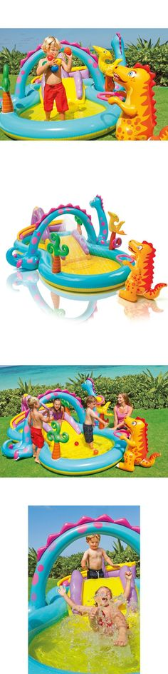 Open Box Intex Inflatable Hippo Play Center Kids Pool With Slide And Sprayer