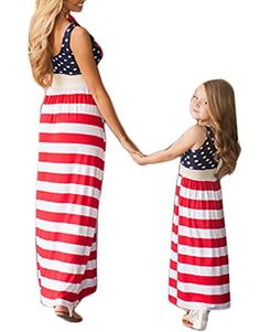 DUTUT Family Matching Clothes Mommy and Me Striped Beach Long Maxi Sundress