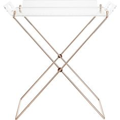 Shop acrylic tray table.   Clear and copper butler serves a glam chain reaction.  Linked with a fashion-forward chain end to end, copper-plated iron X-base is a statuesque stand for clear acrylic tray.