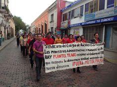 El sábado 2 de febrero, por céntricas calles de Mérida, se manifestaron sindicalizados del Colegio de Bachilleres de Yucatán.