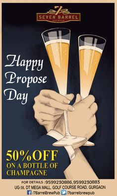 We wish you luck and happiness on Propose Day. Pop that question and say it loud at 7 Barrel Brew Pub. Woo your partner and propose a toast over champagne and we are doing our part by offering 50% discount on a champagne bottle. #proposeday #popthatquestion #7barrelbrewpub
