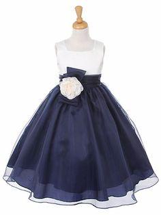 Navy Satin Bodice w/ Organza Skirt Dress