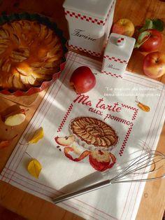 La maison du bonheur: Les Brodeuses Parisiennes - Creation Point de Croix 23 - Veronique Enginger - ''Torchon aux pommes'' ma tarte aux pommes
