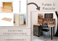 Se puede tunear y transformar tus viejos muebles para conseguir un escritorio de estilo industrial totalmente personalizado