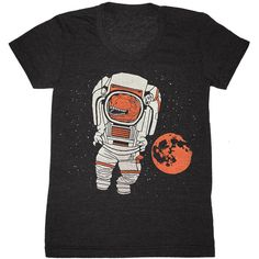 Womens Trex Astronaut T-Shirt Girls Tee Shirt Funny Space Nasa... ($26) ❤ liked on Polyvore featuring tops, t-shirts, black, women's clothing, black top, nebula t shirt, vintage style t shirts, scoop neck tee and black tee