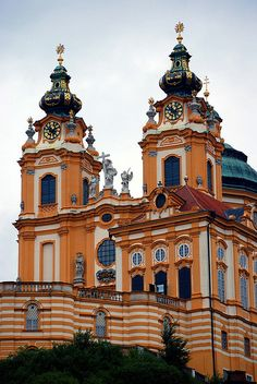 Melk Abbey, Melk, Austria--closer shot.  Remember seeing this abbey in the Sound of Music?