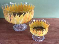 Sunflowers Adorn Pedestal Bowls  Original by GlassMenagerieDesign, $35.00