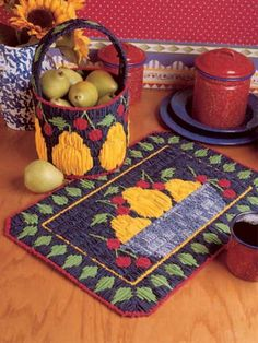 Plastic Canvas - Kitchen & Dining - Pears and Cherries (be pretty in rug hooking)