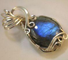 Amelia - A Blue Green Labradorite Pendant, Labradorite Jewelry, Wire Wrapped Pendant, Wire Wrapped Jewelry by WireWizardz on Etsy