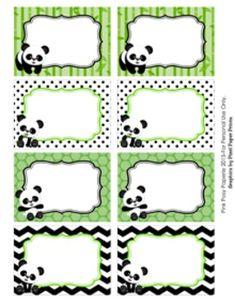 Panda Bear Classroom Decor Bin Tag Labels