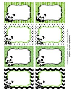 """These sweet labels are great for decorating your classroom in a panda theme. Use them as name tags or to label bins, lockers, book baskets and folders.   The labels measure 3 1/2 x 2 1/2 inches. They are blank and are not editable.  Labels can be printed on 8 1/2"""" x 11"""" white heavy cardstock or full sheet label paper."""