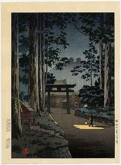 Futara-san, Nikko (Mountain Temple), woodblock print, by Tsuchiya Koitsu, 1936