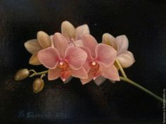 """Buy Oil painting an Orchid Branch.(the cycle of """"Moments"""") - pink, ochre"""