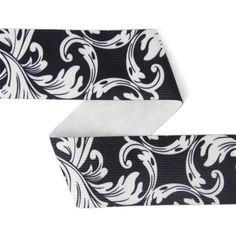 Elastisk Bæltebånd Ornamenter (40) - Polyester - Polyamid - Lycra - sort - hvid