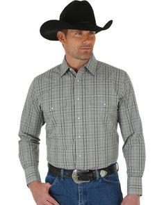 518a945c43da1 Wrangler Men s Wrinkle Resist L S Western Snap Plaid Shirt Khaki Black