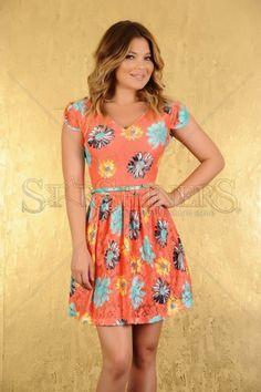 Rochie LaDonna Colorful Daisy Orange