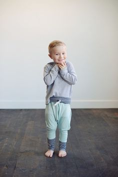Slouch Baby & Toddler Pants in Mint Bamboo Knit by weelittlenuggs