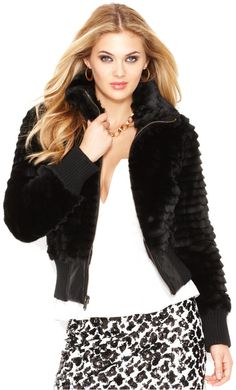 GUESS Faux-Fur Cropped Bomber Jacket on shopstyle.com