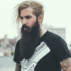 Trig Perez - full long thick black beard mustache beards bearded man men mens' style tattoos #beardsforever