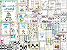 10 Literacy and 10 Math Centers for January.  Penguins, Snowman, Arctic Animals, Weather!