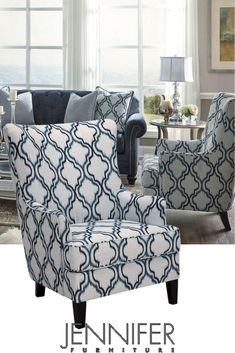 The Shirly Wingback Chair is covered in a traditional Moroccan lattice print with flamestitching & coordinating shades of indigo. Wingback Chair, Armchair, Chair Backs, Sofa Covers, Aesthetic Art, Lisbon, Sofas, Accent Chairs, Table Settings