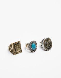 Set of stone rings - null - Bershka United Kingdom