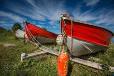 Red Boats by picspassion  Nova Scotia Port Medway South Shore boats canada perspective red wide angle Lighthouse Route Red Boa