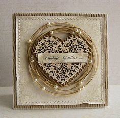 From Dorota Kopec in Stalowa Wola, Podkarpackie, Poland. Pretty Cards, Love Cards, Paper Cards, Diy Cards, Shabby Chic Cards, Engagement Cards, Heart Cards, Card Making Inspiration, Valentine Day Cards