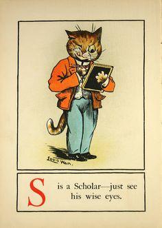 Louis Wain, Juvenile cat alphabet, 1910s | from Animalarium