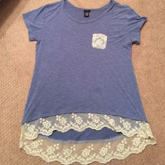 Rue 21 Shirt with Lace size XL Wore only a couple of times! Like new. From smoke and pet free home :) Rue 21 Tops Tees - Short Sleeve
