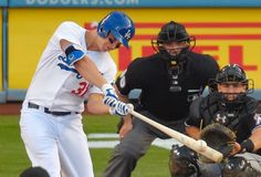 LAD Joc Pederson, homers/umpire David Rackley/MIA catcher J T Realmuto/ May 2015