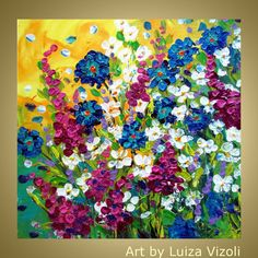Original Modern Colorful Contemporary FLOWERS by LUIZAVIZOLI, $199.00