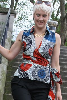 Sleeveless Wrap Top ~African Prints, African women dresses, African fashion styles, african clothing
